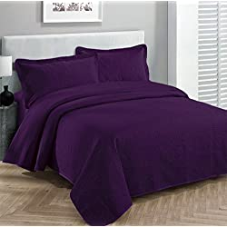 "Fancy Collection 3pc Luxury Bedspread Coverlet Embossed Bed Cover Solid Dark Purple New Over Size 100""x 106"" Full/queen"