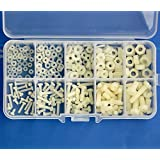 Electronics-Salon M2 M2.5 M3 M4 M5 Nylon Screw / Nut / Washer Assortment Kit. (Color: White)