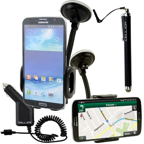 "Samsung Galaxy Mega 6.3"" Adjustable Car Windshield Dash Mount Cradle Holder Kit + Micro Usb Rapic Car Charger + Capacitive Microfiber Touch Pen Stylus By Celljoy T-Mobile Verizon At&T Sprint Unlocked"