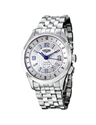 Vulcain Aviator Dual Time Men's Stainless Steel Mechanical Alarm Watch 100133.210M
