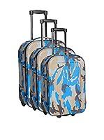 PARKWAY Set de 3 trolleys semirrígidos (Azul / Gris)