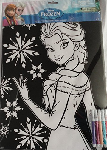 Disney Frozen Elsa Velvet Coloring Sheet with 5 Markers - 1