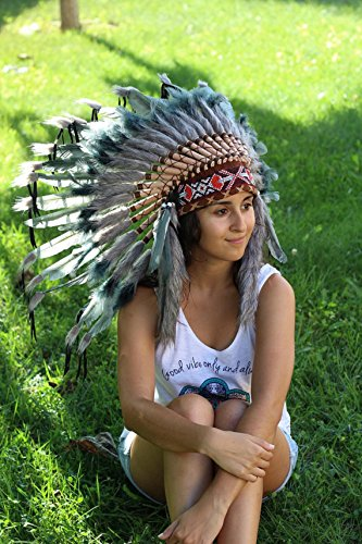 Grey Indian Headdress, Native American Warbonnet