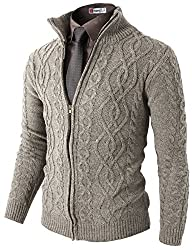 H2H Mens Casual Knitted Twisted Patterned Zip-up Cardigan BEIGE US S/Asia M (KMOCAL096)