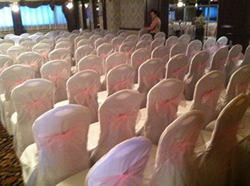 White Wedding Round Top Banquet Chair Covers-(set of 100)