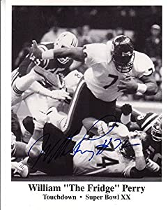 William Perry Signed Autographed 8 x 10 Chicago Bears Superbowl XX Touchdown Photo
