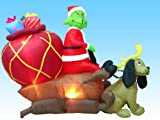 Airblown Inflatable 6 Ft Tall Grinch in a Sleigh with Max