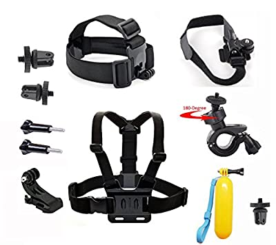 Neomark® for Sony Action Cam HDR-AS15/AS20/AS30V/AS100/Sony Action Cam HDR-AZ1 Mini Cameras, Adjustable Chest Body Blet Strap Mount+ Release Plate + J-hook Surface Quick Release Buckle + Long Screw Bolt + Head Strap + Bicycle Helmet Strap Mount+ Bicycle H