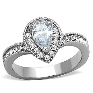 Amazon.com: 1 Carat Clear Pear-Cut CZ Halo Engagement Ring