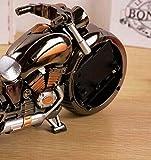 R&K's Company 重厚感! ハーレー風 バイク 型 目覚まし 時計 メタリック ボディ クリーニングクロス付き2点セット レトロ 置時計 インテリア プレゼント にも S168 (ブラッククローム(2色))