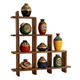Unravel India 9 Warli painted pots with Sheesham Wodden Frame Brown Frame Multicoloured Pots