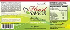 Lower cholesterol naturally with HeartSaviorTM 6 Powerful Cholesterol Fighting Ingredients Plus 60 mg Co-Q10 (120 caps)