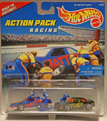 Mattel Hot Wheels 1996 Action Pack Series 1:64 Scale Die Cast Metal Car # 16155 - RACING Race to Victory with T-Bird Stocker Racing Car, Buick Stocker Racing Car, 1 Racer and 2 Pit Stop Crew with Equipments