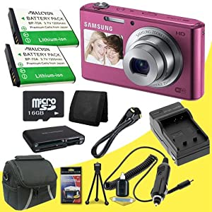 Samsung DV150F 16.2MP Smart WiFi Digital Camera with 5x Optical Zoom and 2-Inch front and 3-Inch Rear Dual LCD Screens (Pink) + Two BP-70 Replacement Lithium Ion Batteries + External Rapid Charger + 16GB microSD Memory Card + Micro HDMI Cable + Carrying Case + Multi Card USB Reader + Memory Card Wallet + Deluxe Starter Kit DavisMax Bundle