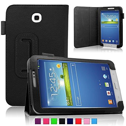 Infiland Samsung Galaxy Tab 3 7.0 case, Folio PU Leather Stand Cover For Samsung Galaxy Tab 3 7.0 SM-T210 / T211 (Galaxy Tab 3 7.0 SM-T210, Black)