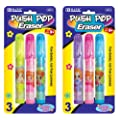 Bazic Fancy Push-Pop Pencil Eraser, 3 per Pack (Case of 24)