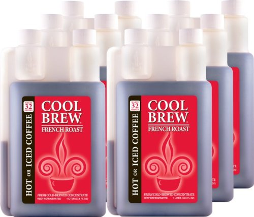 Cool Brew® Fresh Coffee Concentrate - French Roast 6X1 Liter- Make Iced Coffee Or Hot Coffee - Makes Over 200 Drinks