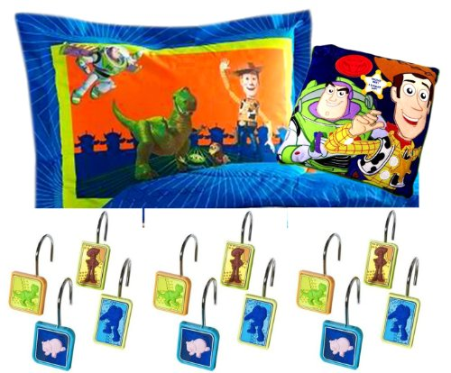 Best Stocking Stuffer Christmas Gift Ideas For Kids Boys Girls Teens Toy Story Boys Bedroom Gift Set Boys Stocking Stuffer Gift Idea With Woody & Buzz Light Year Toy Story Pillow Sham Toy Story Blinking Pillow And Toy Story Shower Curtain Hooks front-276533