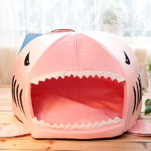 Yosoo Cute Cozy Soft Shark Round House Puppy Bed with Pet Bed Mat for Small-medium Dog Puppy Cat Kitten (Pink, M)
