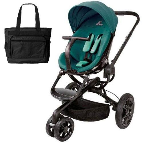 Quinny Cv078Bfq Moodd Stroller In Green Courage With A Diaper Bag front-826954