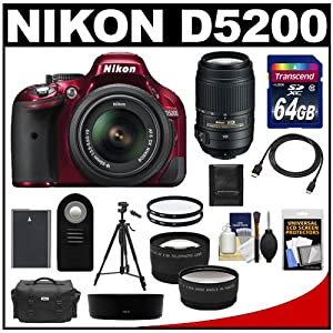Nikon D5200 Digital SLR Camera & 18-55mm G VR DX AF-S Zoom Lens (Red) with 55-300mm VR Lens + 64GB Card + Battery + Case + Tripod + Tele/Wide Lenses + Remote + Accessory Kit