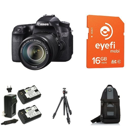 Canon EOS 70D Digital SLR Camera with 18-135mm STM Lens + Eye-Fi Memory Card, Bag, Battery and Tripod