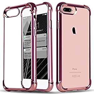 iPhone 7 Plus Case, ArtMine [Plating Anti-Fall Series] Crystal Clear Back Cover [RoseGold] Bumper & Soft TPU Slim Fit [Shock Absorbent] Protection Case for Apple iPhone 7 Plus