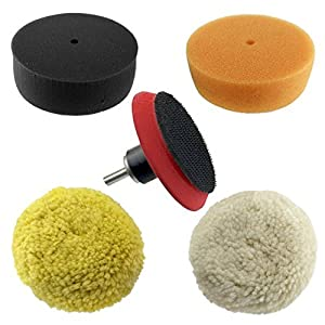 """3"""" Car Buffing & Wax Polishing Pad Kit - Drill Attachment Tool with Velcro Wheels from Ram-Pro"""