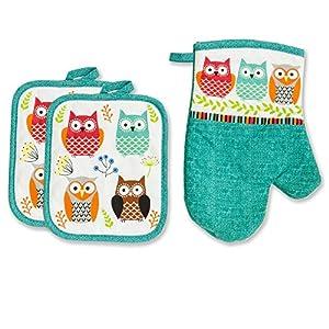 Kitchen Towel Linen Set of 7 Pieces Owl Design | 2 Kitchen Towels 2 Potholders, 1 Oven Mitt and 2 Dishcloth