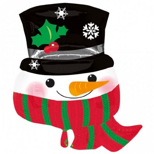 "Snowman Face Top Hat Red Green Scarf Holly Snowflake 28"" Balloon Mylar"