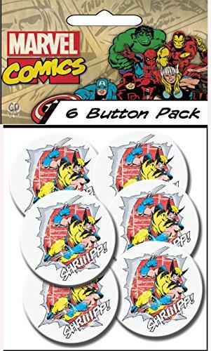 "C&D Visionary Marvel Comics (Retro) Wolverine Shriiipp 1.5"" Button (6-Piece) - 1"