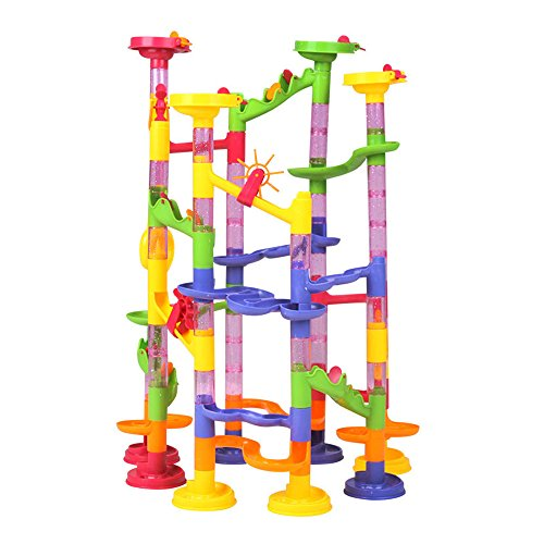 Happytime-Marble-Run-Coaster-105-Piece-Set-with-75-Building-Blocks-Plus-30-Race-Marbles-Learning-Railway-Construction-DIY-Maze-Toy