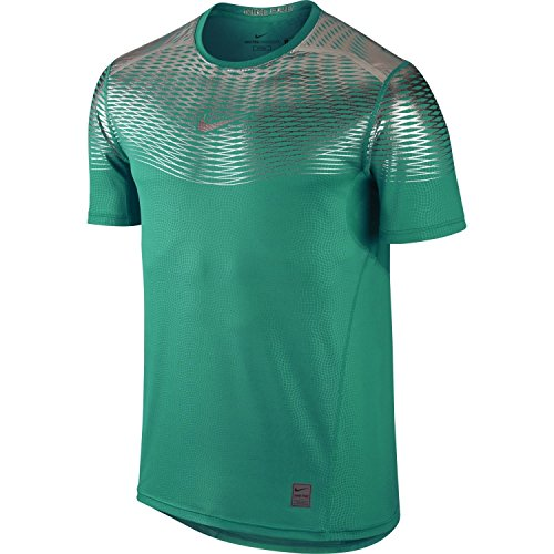 Nike Men's Pro Hypercool Max Fitted Training Shirt (Teal Charge/White, XXL)
