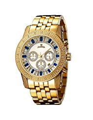 "JBW-Just Bling Men's JB-6219-G ""Krypton"" Gold Blue Chronograph Diamond Watch"