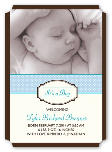 Thank You Cards: Classic Baby Birth Announcement Blue 5X7 Flat Card front-59745