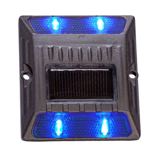 Blue Aluminium Alloy Solar Road Stud Path Deck Dock Led Lights (8 Pack)