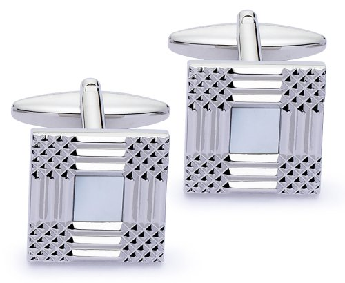 Code Red Base Metal Rhodium Plated Cufflinks With Real Mother-Of-Pearl Stones