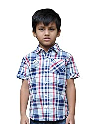 Snowflakes Boys' 4 - 5 Years Cotton Casual Shirt (White with Blue and Red)
