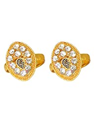 DollsofIndia White Stone Studded Oval Toe Ring - Stone And Metal - Golden - B015UDR8PQ