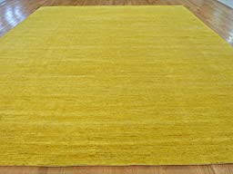 12 x 15 HAND KNOTTED OVERDYED YELLOW GABBEH ORIENTAL RUG G22360