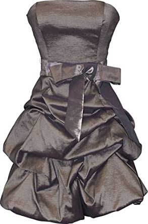 Strapless Taffeta Bubble Dress with Pick-Ups Formal Gown Prom Dress, XS, Pewter