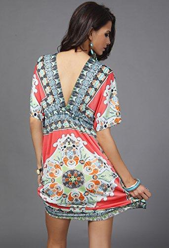 Wander-Agio-Womens-Lace-Short-Sleeves-Princess-Dress-Printing-Beach-Cover-up