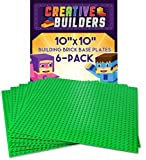 Creative Builders - Set of 6 Green Base Plates | Large 10