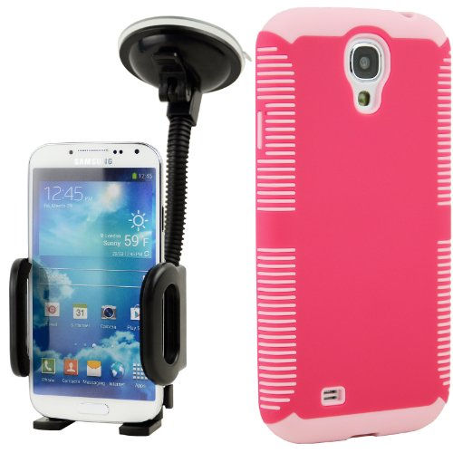 Celljoy Hybrid Tpu 2Pc Layered Sport Hard Case Rubber Bumper + Dash Mount Car Holder Bundle For Samsung Galaxy S4 Siv (At&T / Verizon / Us Cellular / Sprint / T-Mobile / Unlocked) [Celljoy Retail Packaging] (Fuschia Hot Pink & Pink)