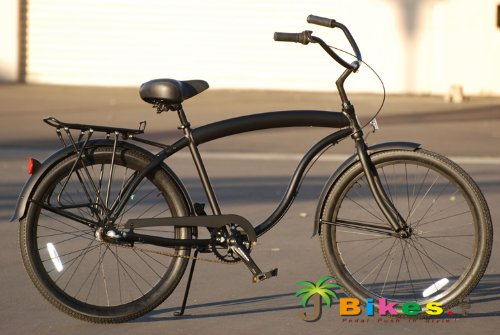 "New J Bikes Hawk Aluminum 3-Speed, Matte Black - Men's 26"" Beach Cruiser Bicycle with Alloy Rea..."