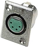 Switchcraft D4F 4-Pin Female XLR Panel Mount Plug, Nickel Finish