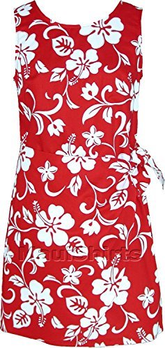 RJC Women's Classic Hibiscus Hawaiian Mock Wrap Sarong Dress Red Large