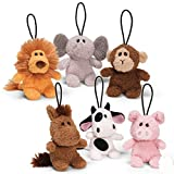 Set of 6 Plush animals ( donkey, lion, monkey, pig, elephant and cow ) with hanging loop by gund