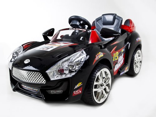 PARENTS REMOTE CONTROLED Black or red Hot Racer Kids Electric Power Ride On Car MP3 - custom upgraded battery for superior quality