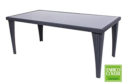 Table rectangulaire noir 160 x 90 x 72 cm Poly rotin Enrico Coveri ameublement jardin bar restaurant 969812